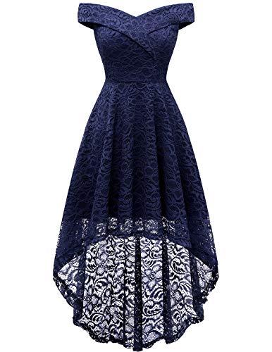 HomRain Damen Elegant Spitzenkleid Schulterfrei Rockabilly Kleid Vokuhila Schwingen Cocktail Abendkleider Brautjungfernkleider für Hochzeit Navy S