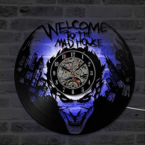 fdgdfgd De Registro de LED de Forma de Payaso de Registro de CD clásico Reloj de Registro de Vinilo Redondo Creativo Regalo   Reloj Disco de Vinilo Retro