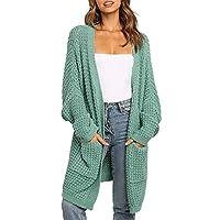 Vネック ニットカーディガン ヨーロッパとアメリカのソリッドカラーコントラストミッドレジーレディースセータージャケットニットカーディガン女性の秋/冬 (Color : Green, Size : X-Large)