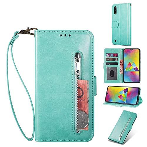 ZTOFERA für Samsung Galaxy A10 Hülle, Brieftasche Reißverschluss Magnetisch Flip Folio PU Leder Kartenhalter mit Trageschlaufe Ständer Zipper Geldbörse Schutzhülle für Galaxy A10 - Minzgrün