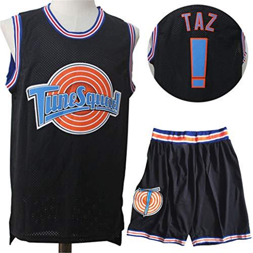 Space Jam Tunesquad #! Taz Basketballtrikots,2-Teilige Atmungsaktive Westenshorts Sets Mesh Quick Dry Movie Ball Wear äRmelloses T-Shirt Mit Rundem Hals-Black-M