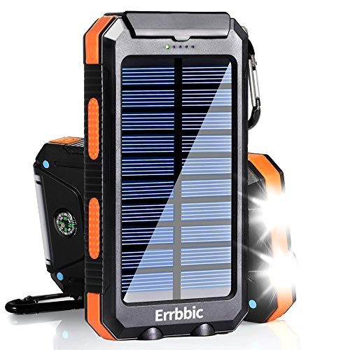 Solar Power Bank 10000mAh Portable Solar Charger Waterproof External Battery USB Charger Built in LED Light with Dual 2 USB Port/LED Flashlights for All Smartphone, Android Cellphones
