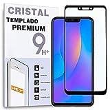 REY - Protector de Pantalla Curvo para Huawei P Smart Plus - Nova 3, Negro, Cristal Vidrio Templado...