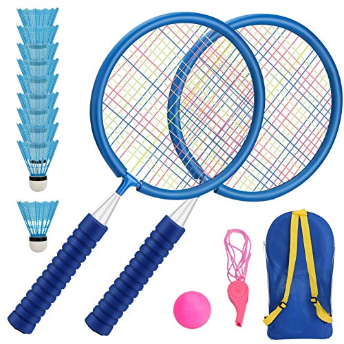 Aceshop Raquetas Badminton Niños Raquetero Tenis Racket Raqueta de Juguete Deportivo Bádminton Playa al Aire Libre (Azul)