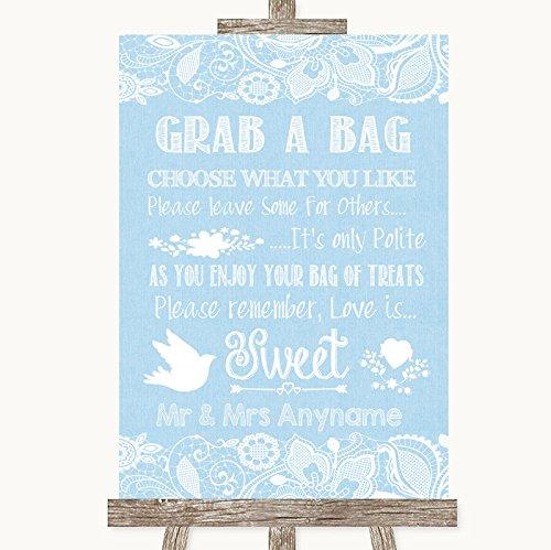 Blauwe jute & kant collectie blauwe jute & kant pak een tas Candy Buffet Cart snoepjes bruiloft teken Framed Oak Small Kleur: wit