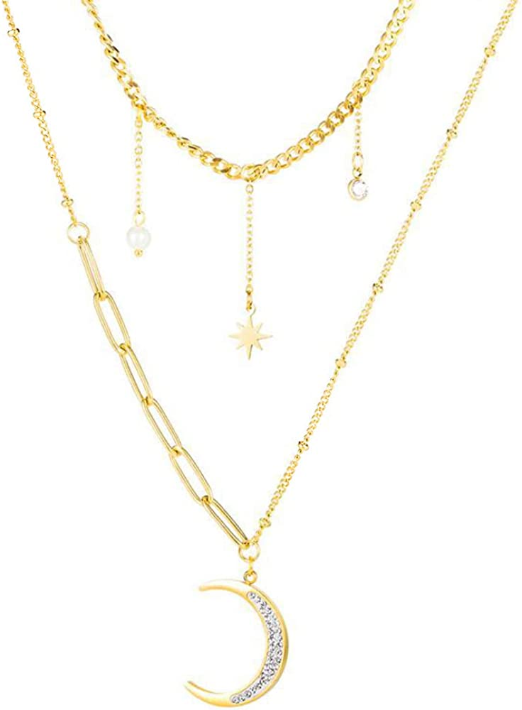 Layered CZ Crescent Moon Star Dainty Choker Rhinestone Pearl Pendant Necklace for Women Girls Delicate Chic Stainless Steel 14K Gold Plated Crystal Layering Chain Gifts for Birthday Mom Daughter 14.9