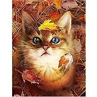JXRDG 5Dフルスクエアダイヤモンド刺繡猫DIYダイヤモンド絵画どうぶつの森秋の家の装飾ギフト40x50cmフレームなし