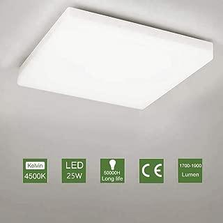 OOWOLF Led Lanpara De Techo, 25W Plafón LED Luz De Techo Impermeable Para Baño Dormitorio Cocina Balcón Pasillo Sala de Estar Comedor 1900 lm, 4500K, 30x30cm