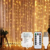 LED Curtain Lights, USB & Battery Powered LED Icicle Lights, 300 LEDs, 9.8ft
