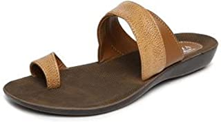 Women's Officewear Leather Thong Sandal Brown Color (10)