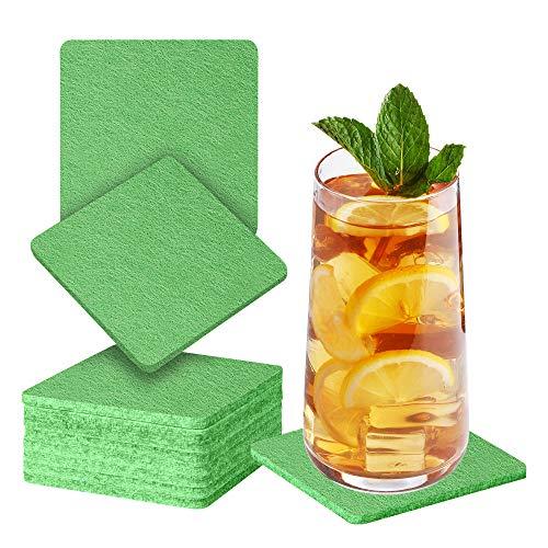 Sidorenko Sottobicchieri in feltro quadrati per bicchieri - Set di 10 - Sottobicchieri di vetro di design in verde per bevande, tazze, bar, vetro - Sottobicchieri da tavolo