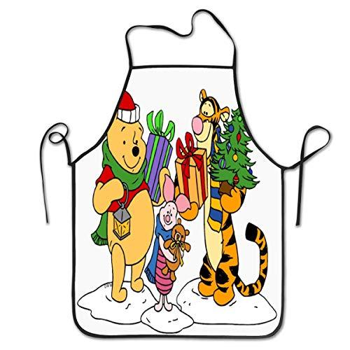 Lawenp Delantales Personalizados Tigger Winnie The Pooh Delantal de Babero de Cocina Unisex con Cuello Ajustable para cocinar, Hornear, jardinería, 28 x 21 Pulgadas