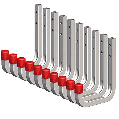 10 x SECOTEC® Universalhaken verzinkt 80 x 120 mm Belastbarkeit 45 kg Werkzeughaken Wandhaken
