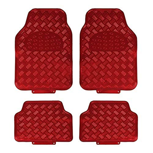 EUROXANTY®- Alfombrillas de Goma con Diseño Metalizadas Universales 4 Unidades (Rojo)