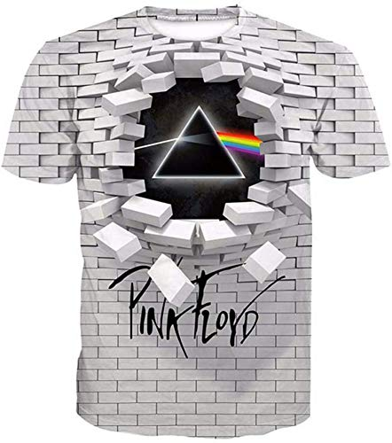 WTZFHF Fashion T-Shirt Unisex T-Shirt Pink Floyd 3D Printed Spring Summer Short-Sleeved Shirt For Men Women