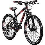 Galano Jugendfahrrad 24 Zoll Mountainbike ab 130 cm 21 Gänge G201 MTB Fahrrad (schwarz/rot)