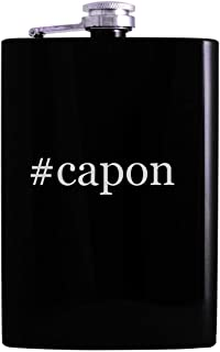 #capon - 8oz Hashtag Hip Alcohol Drinking Flask, Black