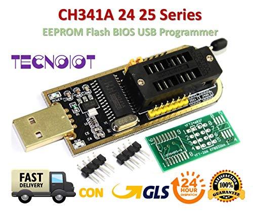 TECNOIOT CH341A 24 25 Series EEPROM Flash BIOS USB Programmer with Software & Driver | CH341A Flash BIOS USB Programmierer für 24 EEPROM 25 SPI Serie