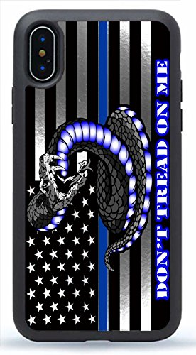 Deal Market LLC - Don't Tread on Me Distressed Thins Blue Line Police - Hard Rubber Phone case for Apple iPhone Xs MAX (2018 Model)- Custom Made and Shipped from USA