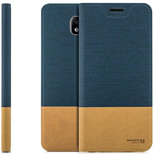Preisvergleich Produktbild zanasta Tasche kompatibel mit Samsung Galaxy J5 (2017) Hülle Flip Case Slim Schutzhülle Handytasche mit Kartenfach,  Standfunktion / Blau