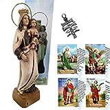 Heraldys.- Figura Virgen del Carmen 18 cms. en Resina, con pátina Envejecido con Cruz de Caravaca. T...