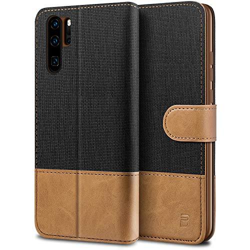 BEZ Handyhülle für Huawei P30 Pro Hülle, Tasche Kompatibel für Huawei P30 Pro, Schutzhüllen aus Klappetui mit Kreditkartenhaltern, Ständer, Magnetverschluss, Schwarz