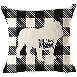 Buffalo - Fundas de almohada a cuadros para sofá, cama, silla, decoración del hogar, color blanco y negro, 45,7 x 45,7 cm