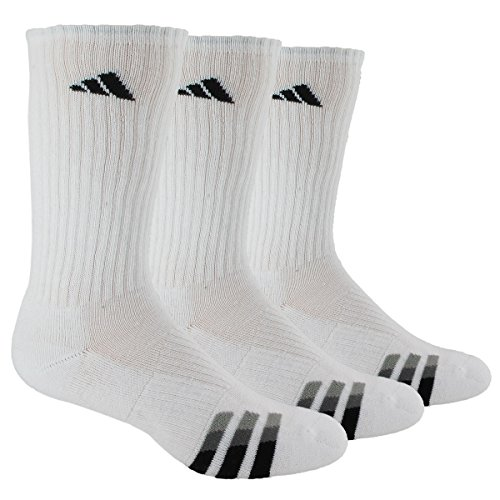 adidas Men's Cushioned Crew Socks (3-Pack), White/Black/Granite/Light Onix, Large: fits shoe size 6-12