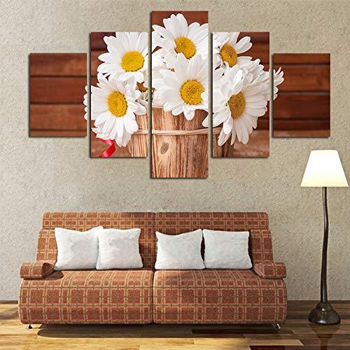KANGZEDT Pintura sobre lienzo - 5 piezas 200*100CM Hermosas flores de margarita Impresión de Lienzo...