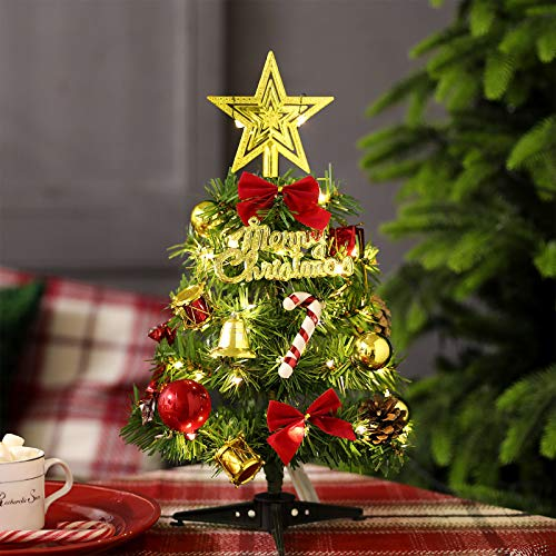 BORUIT 12 Inch/30cm Mini Tabletop Christmas Tree,Artificial Xmas Christmas Pine Tree with LED String Lights & Ornaments for Christmas House Decorations