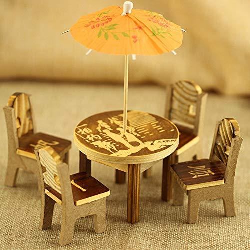 PULABO かわいいミニチュア飾り6ピース/セットミニチュア妖精木製デスクチェア傘ドールハウスガーデン家の装飾飾りギフトス丈夫で耐久性がある シンプルで洗練された
