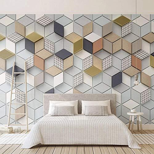 XIAOHUKK PVC self-Adhesive Wallpaper 3D Solid Geometric Lattice Photo Wallpaper for Home Decoration Art Decal Poster