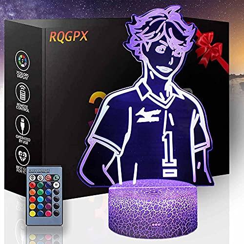 Niños luz de la noche 3D lámpara de ilusión óptica Haikyuu Q regalos para las niñas adolescentes estado de ánimo Multicolor luz blanca cálida cambiar mesa escritorio regalo juguete