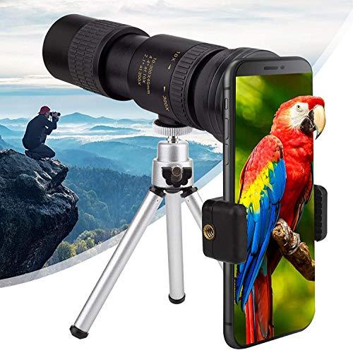 Telescopio Monocular, 10 x 300 HD Impermeable y Antivaho Monoculares, Monoculo Telescopio Portatil para Senderismo Turismo Juego de Pelota, con Adaptador de Soporte para Smartphone y Trípode