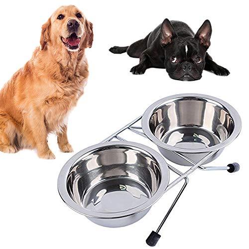 Youyabay 2-delige set hondenmand roestvrij staal dubbele kattenkom met hoge stand Pet Food Bowl ideaal voor kleine honden en katten
