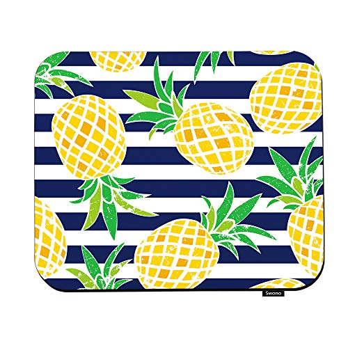 Swono Pineapple Mouse Pads Cartoon Pineapple Fruit in The Navy Blue Stripe Mouse Pad for Laptop Funny Non-Slip Gaming Mouse Pad for Office Home Travel Mouse Mat 7.9'X9.5'