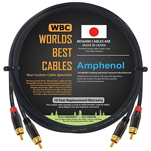 1Meter RCA Kabel Paar–Made mit Mogami 2964High-Definition Audio Interconnect Kabel und Amphenol ACPL schwarz chrom Körper, vergoldete Cinch Stecker (2Kabel für linke und rechte Kanäle)
