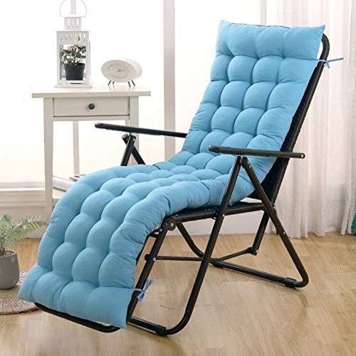 YIE Thicken - Cojín para tumbonas para interiores y exteriores, cojín para silla mecedora de jardín, cojín extra grande, 165 x 48 cm, color azul claro