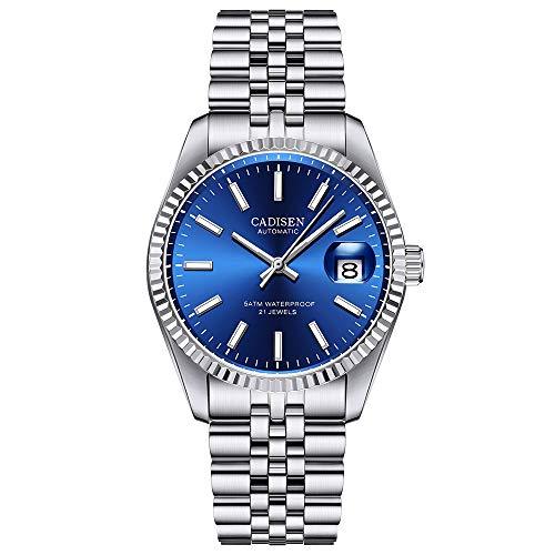 CADISEN Reloj automático para hombre, elegante, informal, mecánico, con cristal de zafiro y calendario, correa de acero inoxidable, resistente al agua (azul)