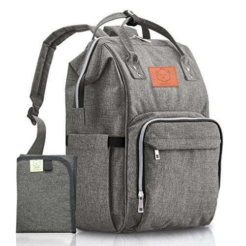 Diaper Bag Backpack - Large Waterproof Travel Baby Bags (Classic Gray)