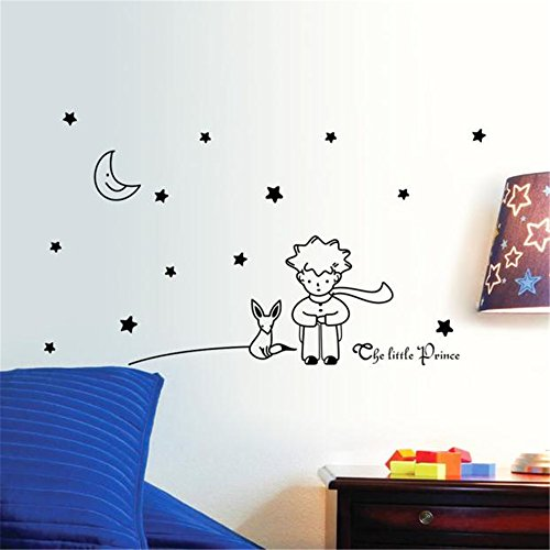 Manadlian Maison Decoration, Étoiles Lune Le Petit Prince Boy Wall Sticker Home Decor Stickers muraux 96 * 42CM (96 * 42CM, Noir)