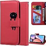 DodoBuy Hülle für Xiaomi Poco F2 Pro, Cartoon Tiere Muster Magnetische Flip Cover PU Leder Schutzhülle Handy Tasche Brieftasche Wallet Hülle Ständer mit Kartenfächer - Rot Katze