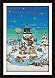 HYSJLS Snowman and His Partners - Kit de punto de cruz, diseño de muñeco de nieve y sus socios, hecho a mano con tabla hecha a mano (tela de punto de cruz, número CT: lienzo blanco de 11 ct)