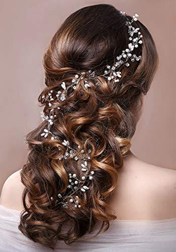 Haarschmuck Hochzeit Brauthaarschmuck Hochzeit Haardraht Hochzeit Gold Blumen Perle und Kristall Haar Rebe Kopfschmuck Haaraccessoires Haarranke Hochzeit