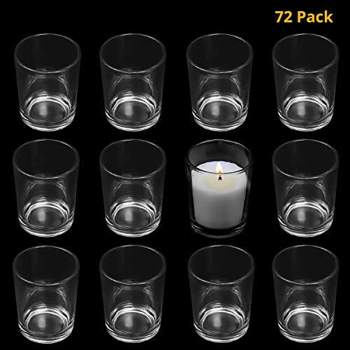 BELLE VOUS Votivkerzenhalter (72 St) - H6.5 x D5cm Hoch Klar Glas Teelichthalter - Transparente Teelichtgläser - Votivgläser für Tischdeko, Aromatherapie, Gastgeschenke, Hochzeitsdeko, Partydeko