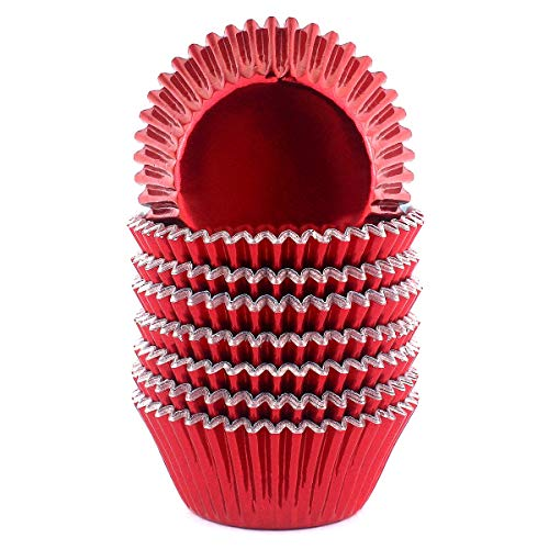 Foil Cupcake Liners Baking Cups Paper Standard Red, 200 Pack