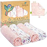Tabalino Superweiche Bambus Mullwindeln Spucktücher | 80x80cm | 4er-Pack + gratis Schmusetuch |doppelt dicht gewebt| Stoffwindeln Mädchen Mulltücher Baby Moltontuch 30% Baumwolle (Paisley)