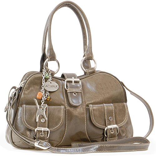 Catwalk Collection Handbags - Vera Pelle - Borsa a Tracolla/Borse a Mano/Spalla/Messenger/Tracolla Regolabile e Rimovibile - Con Ciondolo a Forma di Gatto - Faith - GRIGIO