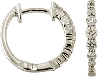 White Gold Plated Silver Prism Jewel 0.97 Carat SI1 Blue /& Natural White Diamond Inside Out Hoop Earrings