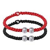 Xuniu 2 Piezas Pulsera de Cuerda roja Hecha a Mano, Kabbalah Cuerda roja Pulseras de Cadena Buena Suerte Amuleto Budista Amante de la joyería